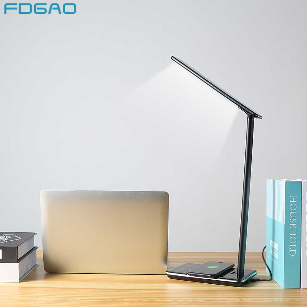 FDGAO LED Table Night Lamp Light Mobile Phone Qi Wireless Charger USB Charging For Samsung S8 S9 Note 9 For iPhone X XS Max 8 XR