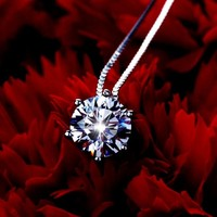 Brand Jewelry 1 Carat Round Simulated Diamant Stone Pendant 925 Sterling Silver Chocker Chain Necklace For
