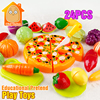 MiniTudou Colorful Miniature Food Cut Vegetables Toy 24PCS Olastic Fruit Food Toys For Girls Kitchen Pretend Play Set For Kids
