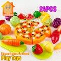 Minitudou comida corte de verduras de colores en miniatura de juguete 24 unids olastic fruta toys for girls cocina pretend play set para niños