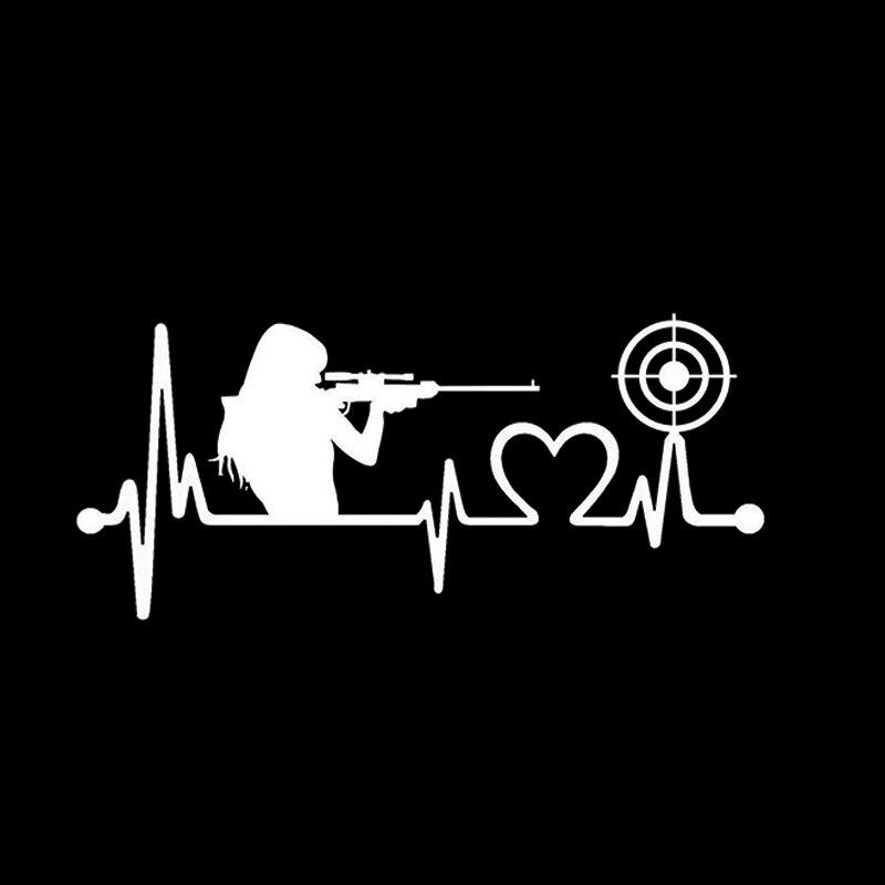 Gun Girl Heartbeat Target Shooting Decal Sticker Love Guns Rifle Pistol Vinyl Decals