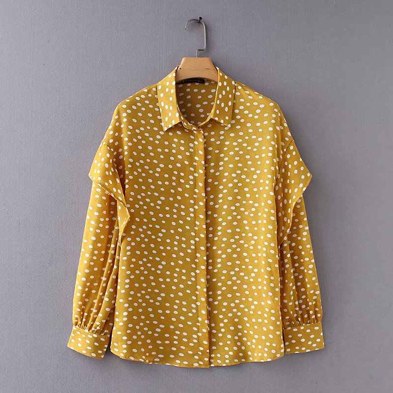 2018 New Fashion Women polka dots printing ruffles casual loose shirt retro office lady wear autumn Blouses Feminine Tops LS2546