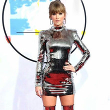 f7df17d7ce3bf Popular Celebrities in Silver Sequin Dresses-Buy Cheap Celebrities ...