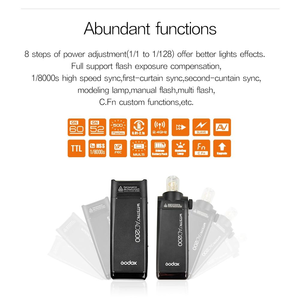 Godox AD200 200Ws 2.4G TTL välklambi 1/8000 HSS Monolight 2900mAh - Kaamera ja foto - Foto 6