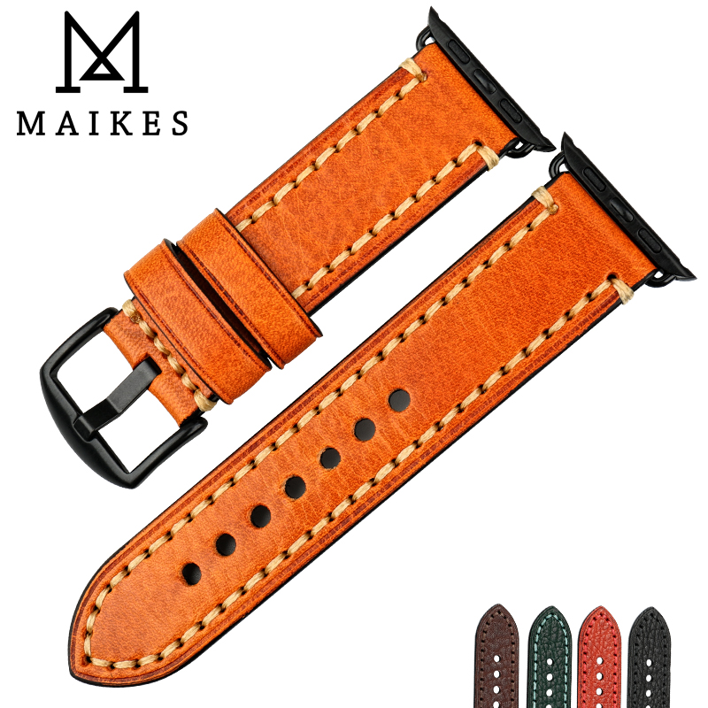 MAIKES Genuine Leather Strap Watchband Orange Watch Bracelet For Apple Watch Band 44mm 40mm 42mm 38mm Series 4 3 2 IWatch
