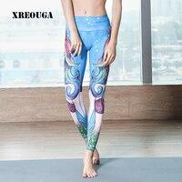 נשים גבוהה מותן אלסטיות הדפסת 3D בת ים סקסי הדוק מכנסיים יוגה חותלות יוגה ריצה כושר YGP34 Sportwears Slim עבור בנות