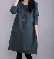Autumn Winter Fashion Korean Style Women Casual Dress Long Sleeve With Pockets Big Size Bottoming Dress