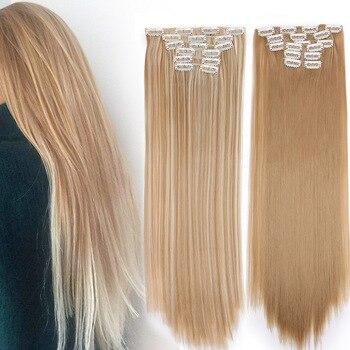 Peluca Is a 15 colores 16 clips largos y rectos clips de extensiones de cabello sintético en fibra de alta temperatura negro postizo Rubio