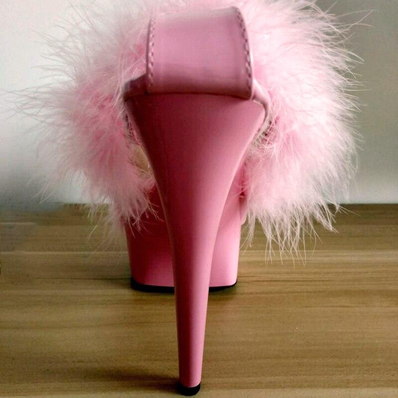 Dames Talons Noir D'été forme Femme Femmes Heel Chaussures Black Heel Taille Haute Blanc Fourrure 15 Stripper pink white Rose Plate 15cm Cm Heel 43 Sandales Plus t6xPXwP