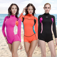 Valentine's Gifts 2mm Neoprene Wetsuit Spring Suits for Women Long Sleeve Jumpsuit Shorty Pants 3 Designs Size S M L XL XXL