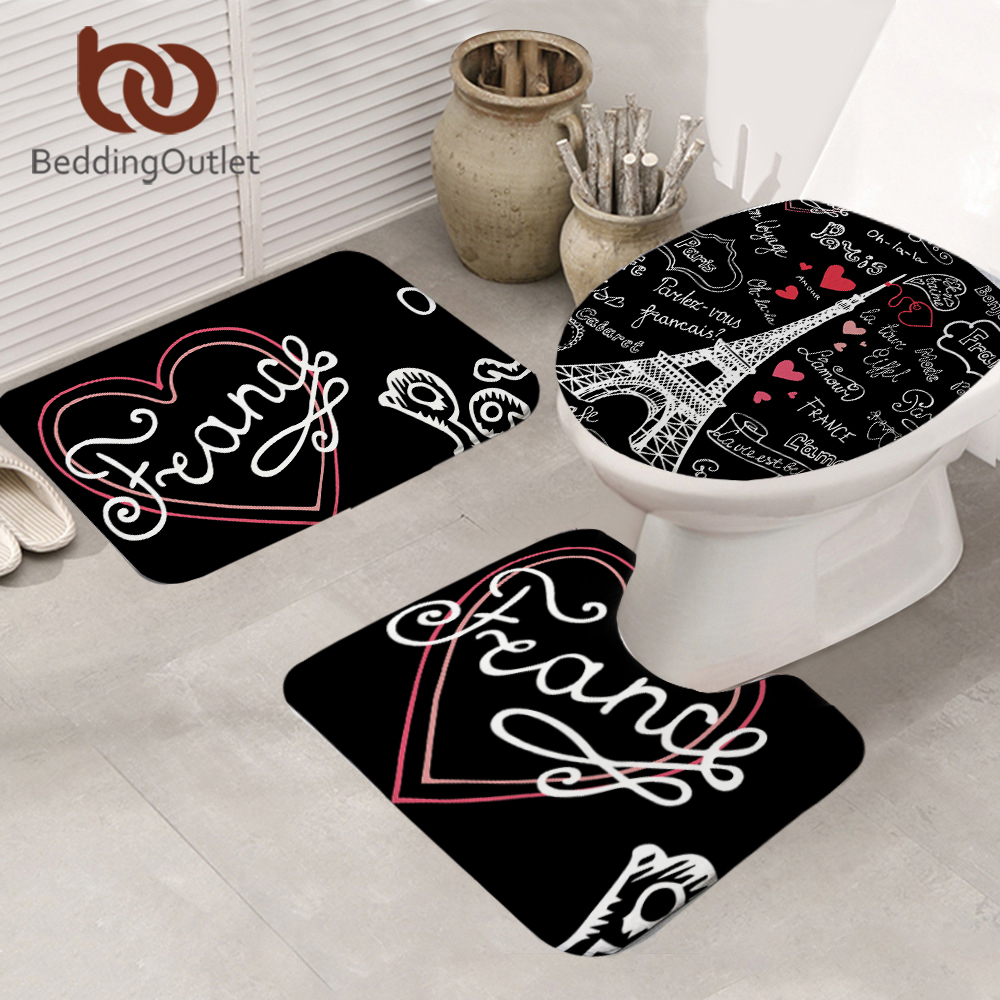 BeddingOutlet France Paris Tower Bathroom Mat Non-slip Letters Print 3-Piece Mat Set Black And White Toilet Cover Carpet 50x80cm
