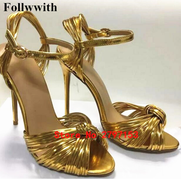2018 New Sexy Straw Gold Patent Leather Gladiator Sandals Woman Open Toe Thin High Heels Shoes Women Narrow Band Party Shoes phyanic 2017 gladiator sandals gold silver shoes woman summer platform wedges glitters creepers casual women shoes phy3323