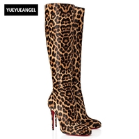 2018 Leopard Round Toe High Heel Boots European Women Sexy Zipper High Boots Female Winter New Motorcycle Boots Plus Size 40 41