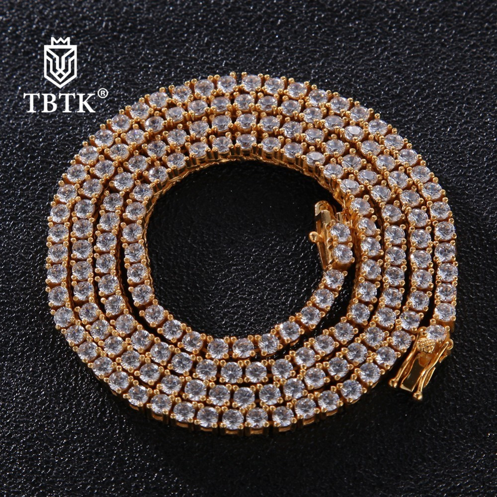 TBTK 3mm Exquisite Rose Gold Iced Out Tennis Link Chain CZ 925 Sterling Silver Jewelry Luxury Long Punk Crystal Stones Necklace