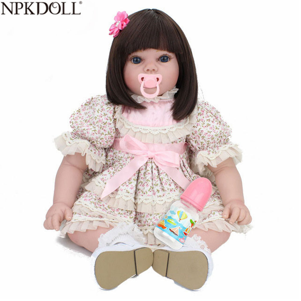 NPKDOLL 22inch 55cm Baby Reborn Doll Realistic Silicon Body With Long Hair Outdoor Toys For Girls Doll Toy Bebe Reborn NPKDOLL 22inch 55cm Baby Reborn Doll Realistic Silicon Body With Long Hair Outdoor Toys For Girls Doll Toy Bebe Reborn