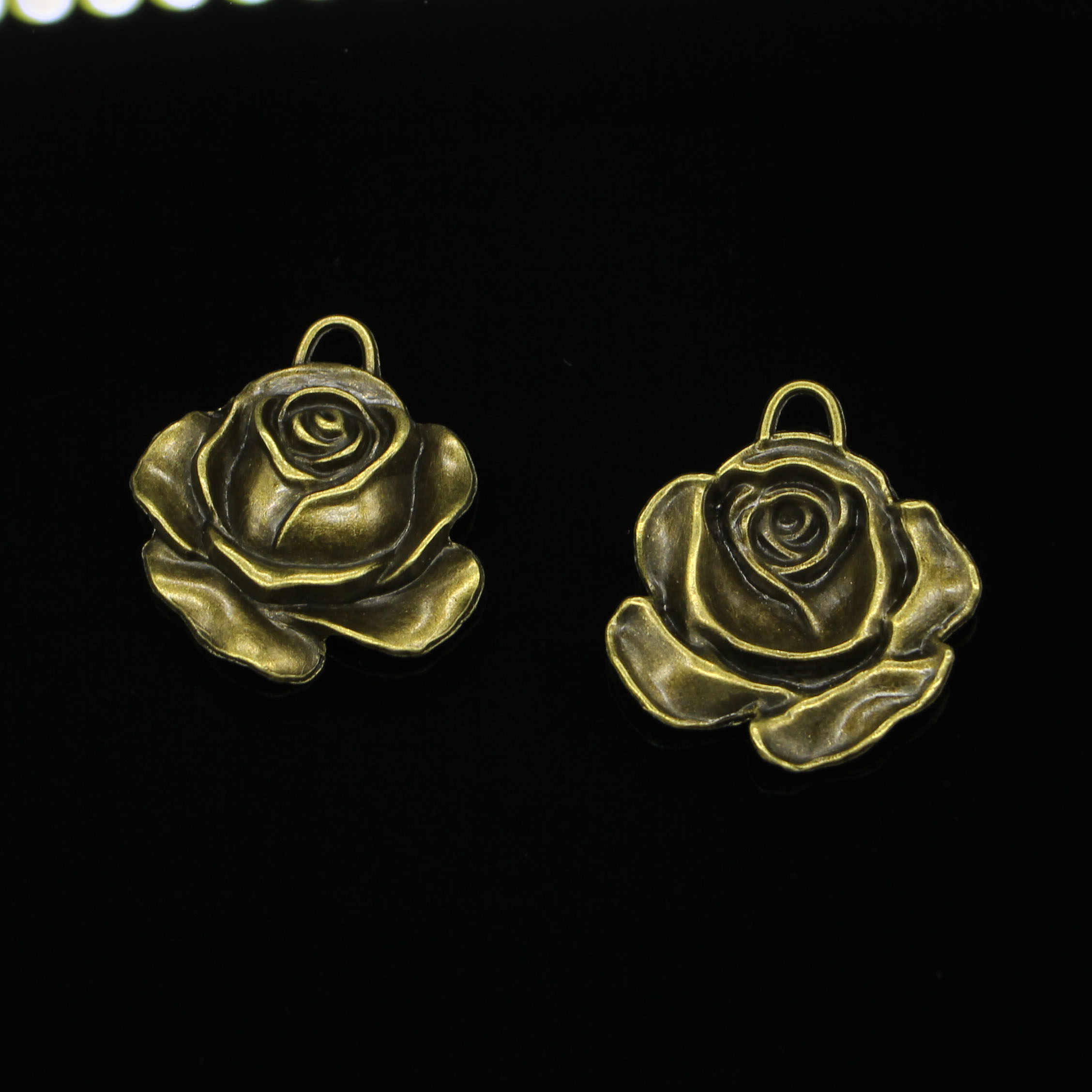 24pcs Antique Bronze Plated rose flower Charms for Jewelry Making DIY Handmade Pendants 36*33mm