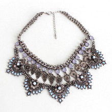 NEC066 Collares ZA Necklaces&Pendants Crystal Choker Necklace Flower Silver Chain Collier Femme Boho Kolye Accesorios Mujer Gift