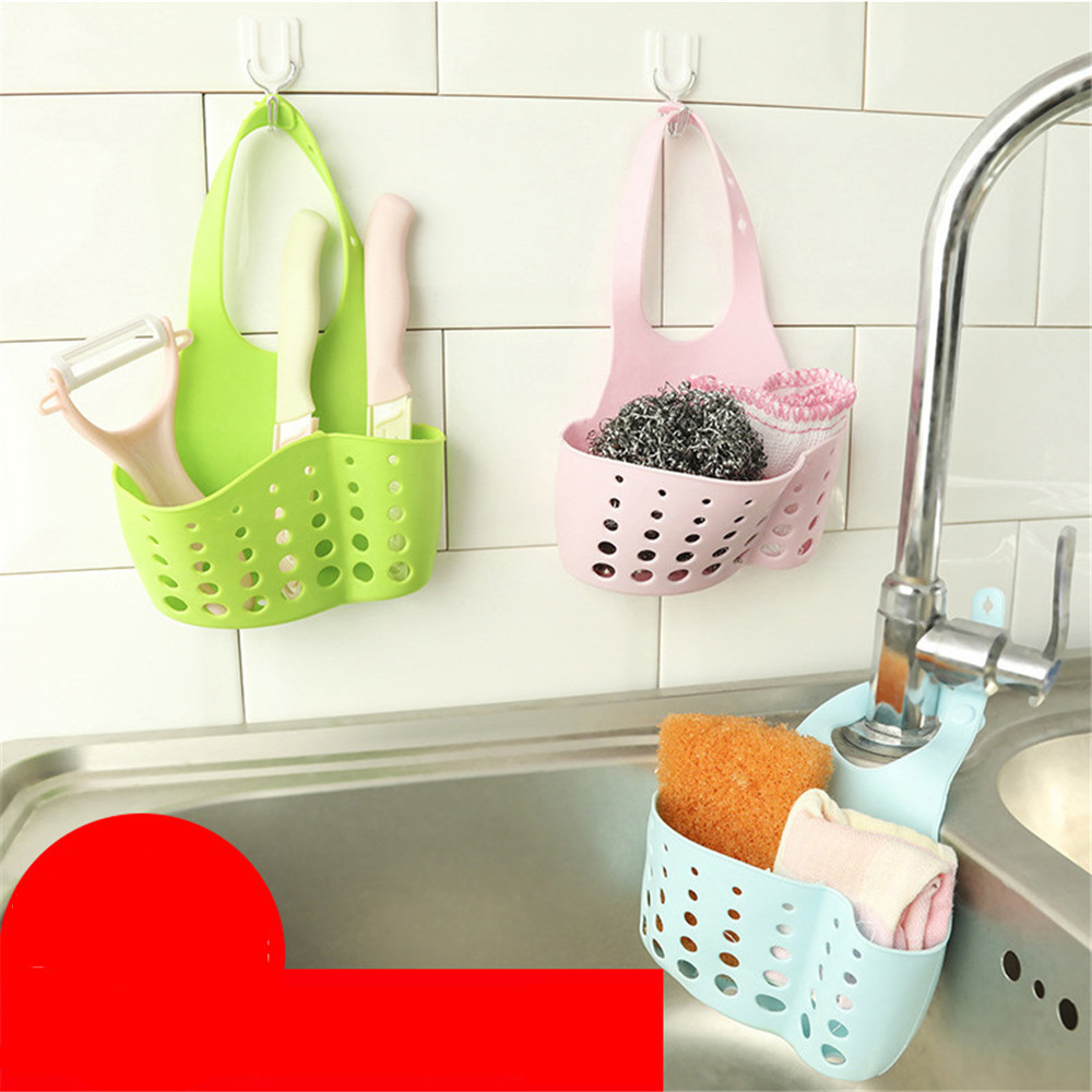 Sink Sponge Storage Rack Hanging Storage Holder Hanging Basket Bathroom Accessory Kitchen Organizer Adjustable Snap