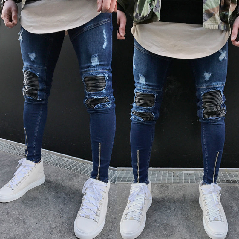 New Arrivals Men Ripped Slimfit Skinny Jeans Stretch Denim Distress Frayed Zipper Pencil Pants Jeans