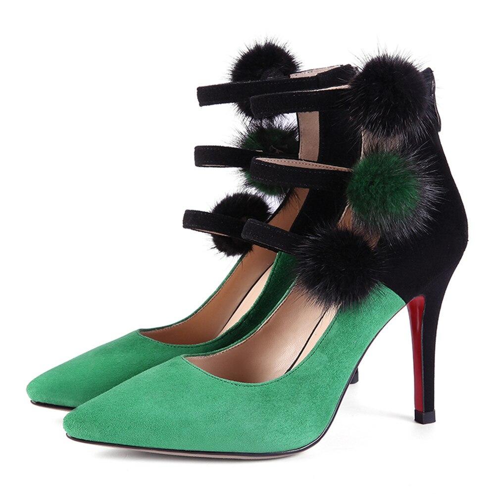 Chaussures De Talons noir Mariage Suédé Femmes Pompes Green 2018 En Automne Bout Cuir Élégante Mode Printemps Masgulahe Zip Femme Hauts Bal Pointu xIq1xH74w