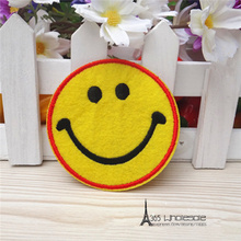 Free Shipping Smiley face stickers 30pcs/lot Iron On Embroider cloth patch cartoon party costume decoration happy kids toy gifts