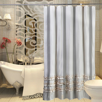 180x200cm 200x200cm Retro Beige Lace Stripes Coffee House Shower Curtain Mouldproof Waterproof Bath Curtain For Bathroom 1 PCS