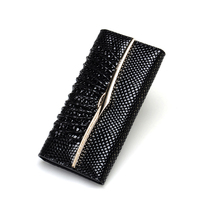 Women Leather Trifold Wallet Luxury Clutch Wallet Card Organizer Travel Purse For Ladies Black