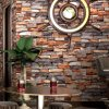 HaokHome Vintage Faux Brick PVC Wallpaper Rolls 3D Dark Grey Rust Stone Stacked Paper Murals Living