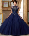 Dreagel Luxurious Crystal Beaded Quinceanera Derss 2016 Fashion Halter Off The Shoulder Royal Blue Debutante Ball Gown Plus Size