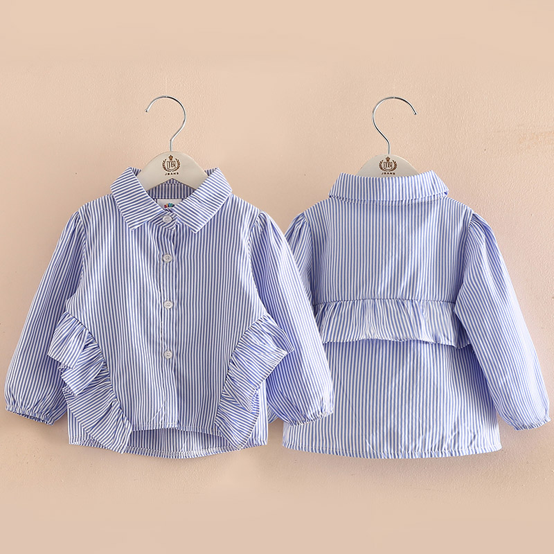 Blouse For Girls 2018 Spring Autumn 2-9 10 Years Children Lolita Style Long Sleeve Kids Baby Girl Striped Ruffle Blouses Shirts blouse