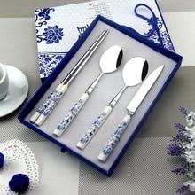 Cuchillo Talheres Aparelho de Jantar Facas Faqueiro Talher Porcelana Azul Y Blanca de Vajilla de Acero Inoxidable Cubiertos Vajillas
