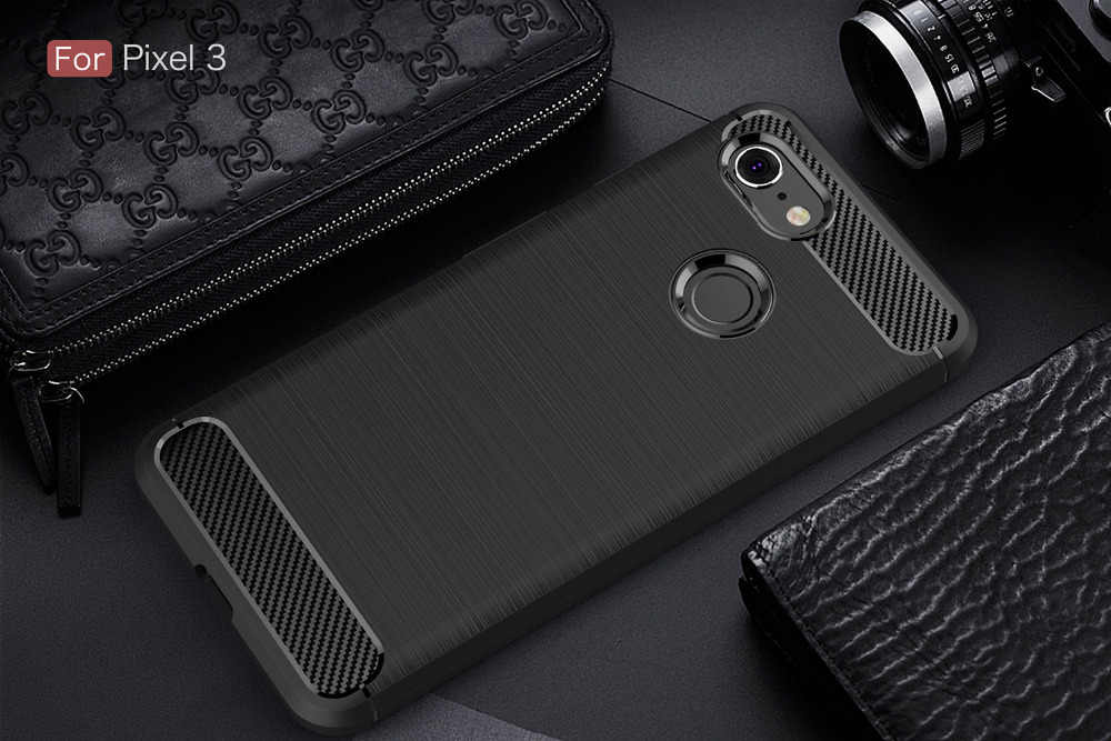 newest c1a2a 86686 Carbon Fiber Case For Google Pixel 3 2 / Google Pixel 3 XL Case Soft Cover  For Google Pixel 3 2 XL Phone Coque Fundas Etui Capa