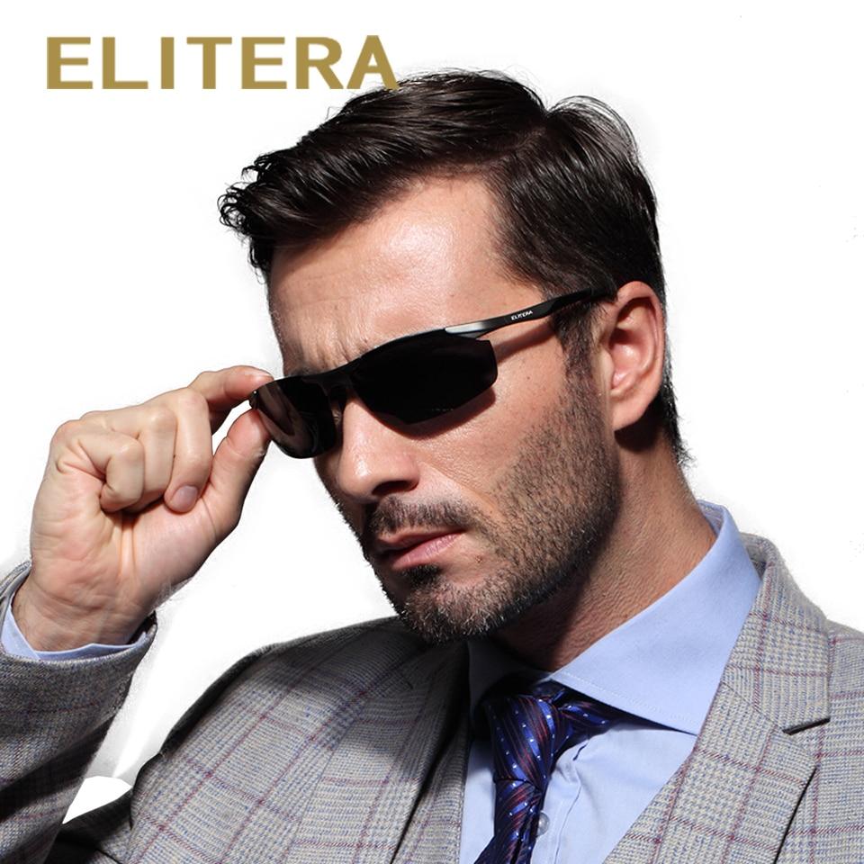 ELITERA Brand Mäns Aluminium Magnesium Solglasögon HD Polariserade UV400 Solglasögon Oculos Man Eyewear Solglasögon För Män