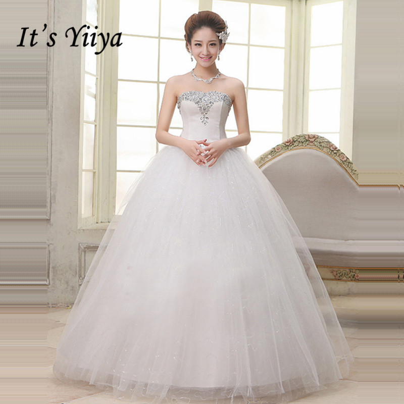 Inexpensive Plus Size Wedding Gowns: 2017 New Plus Size Strapless Wedding Dresses Cheap Sequins