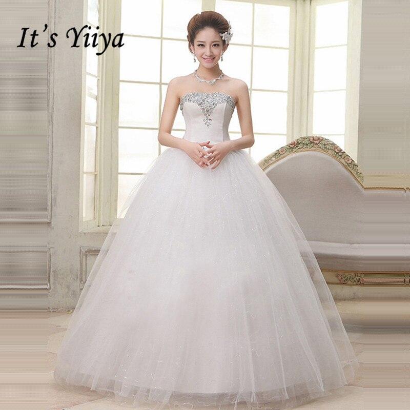 Wedding Gowns Plus Size Cheap: 2017 New Plus Size Strapless Wedding Dresses Cheap Sequins