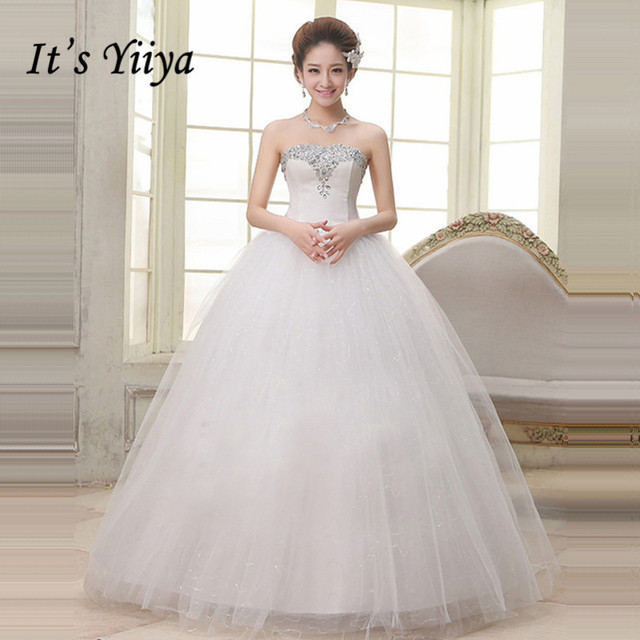 2017 New Plus size Strapless Wedding Dresses Cheap Sequins White ...