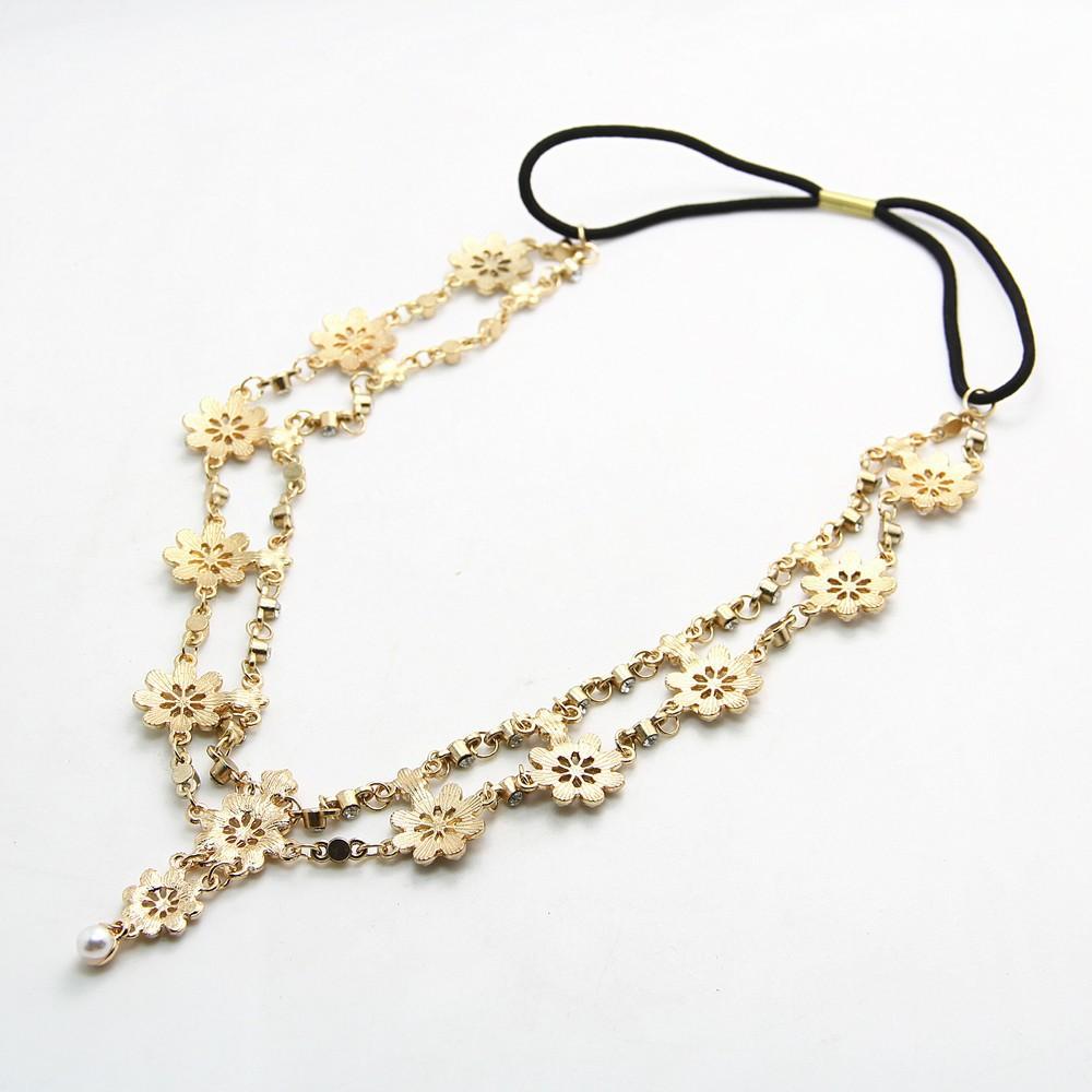 2018 Pearl Tassel Flower Stretch Headband Hair Band Wedding Accessories Crystal Bridal Hair Accessories Head Chain Hair Jewelry 5