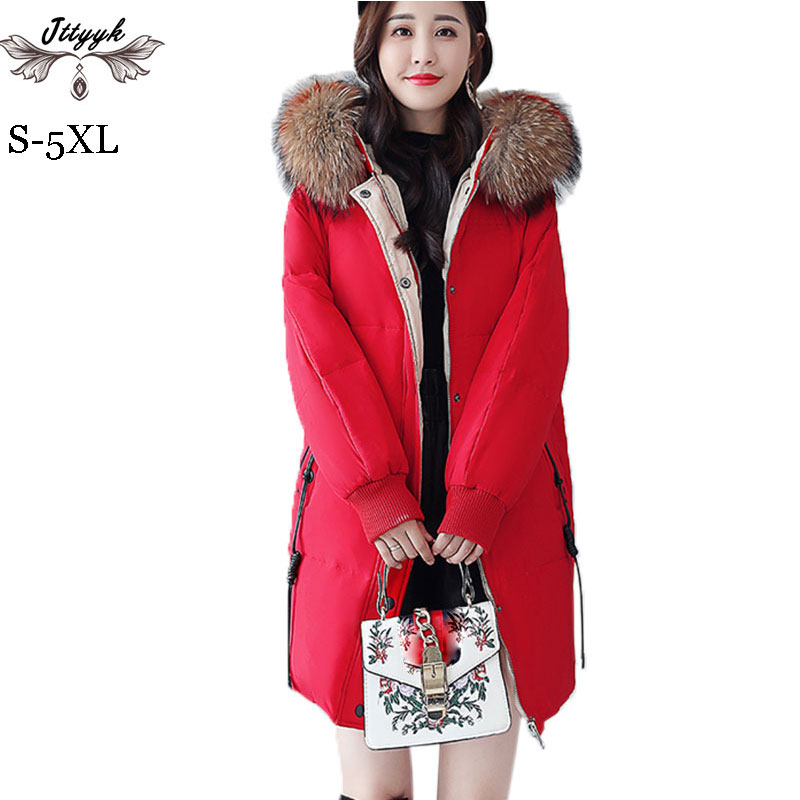 79f73cef3ce9 5XL Plus size Winter Down Coats for Women Thicken Goose Down Jacket Natural  fur collar Hooded