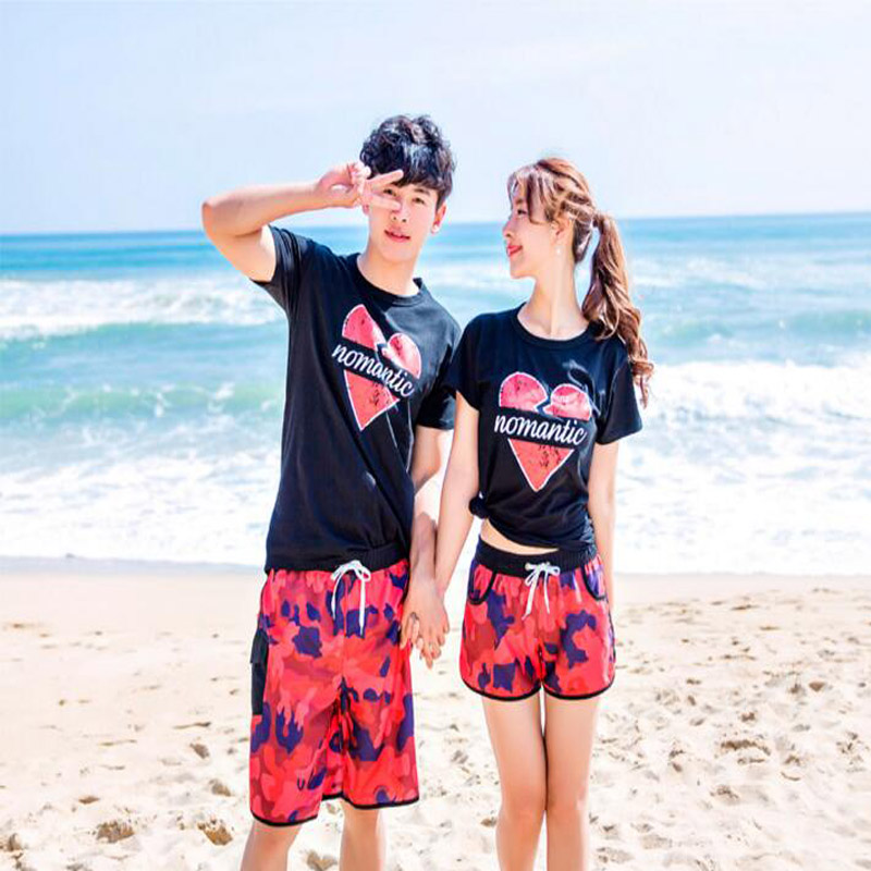 Lovers Beach T Shirts Couple Clothes Red Heart Swimwear Beach Wear Korea Matching Couple Shirts ...