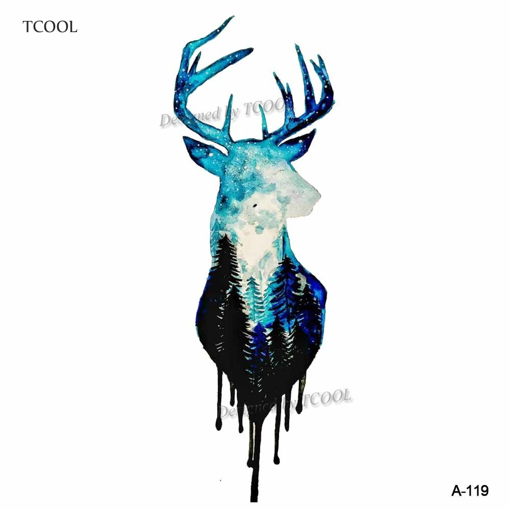 HXMAN Watercolor Deer Temporary Fake Tattoo Body Art Sticker Waterproof Hand Tattoo For Men Hot Design 9.8X6cm A-119