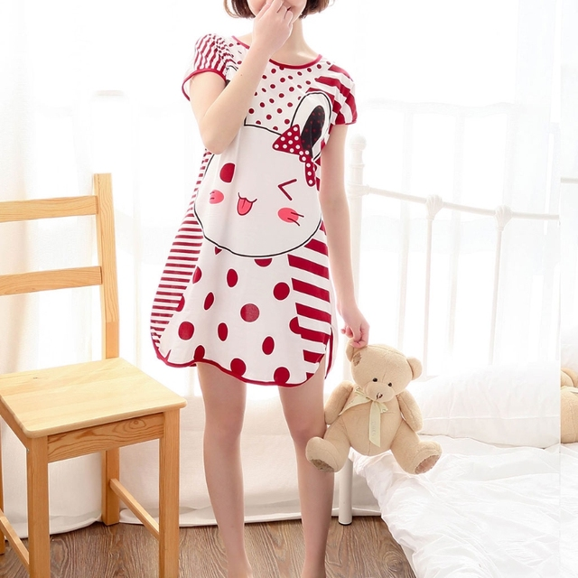 Women's Short Sleeve Lovely Cartoon Pattern Printed Nightdress