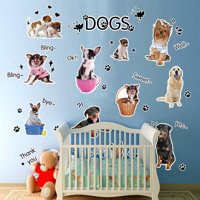 Animal Removable Puppy Dog Wall Stickers Kids Room Decoartion Decals Paw  Prints Home Decor Wall Decals