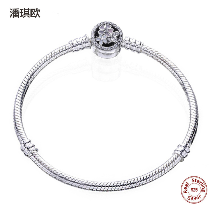 New 100% Real 925 Silver MOMENTS Bracelet with Poetic Blooms Clasp Snake Chain Fit origi ...