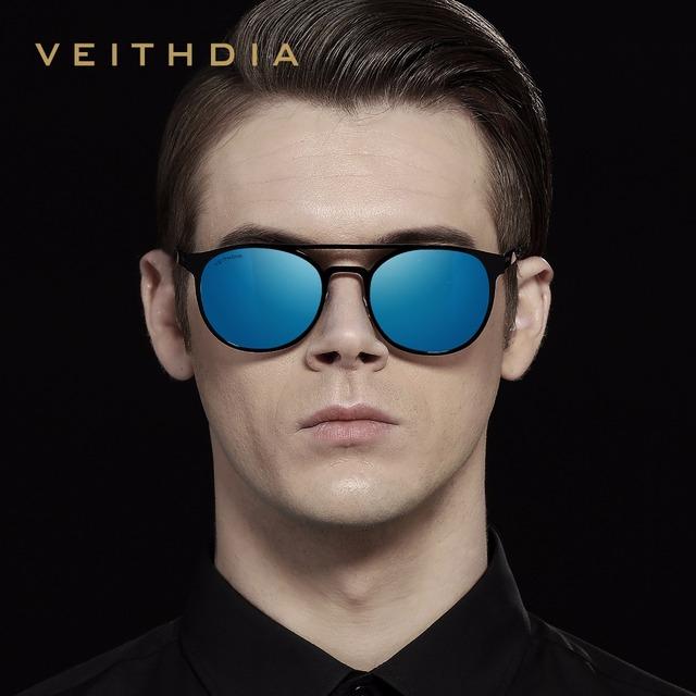 VEITHDIA Unisex Stainless Steel Sunglasses Polarized UV400 Men's Round Vintage Sun Glasses Male Eyewear Accessories For Men 3900