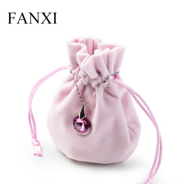 FANXI 12 יח'\חבילה תכשיטי נרתיק קטיפה מתנה פאוץ עם משי שרוך טבעת שרשרת עגיל צמיד אריזה ארגונית תיק