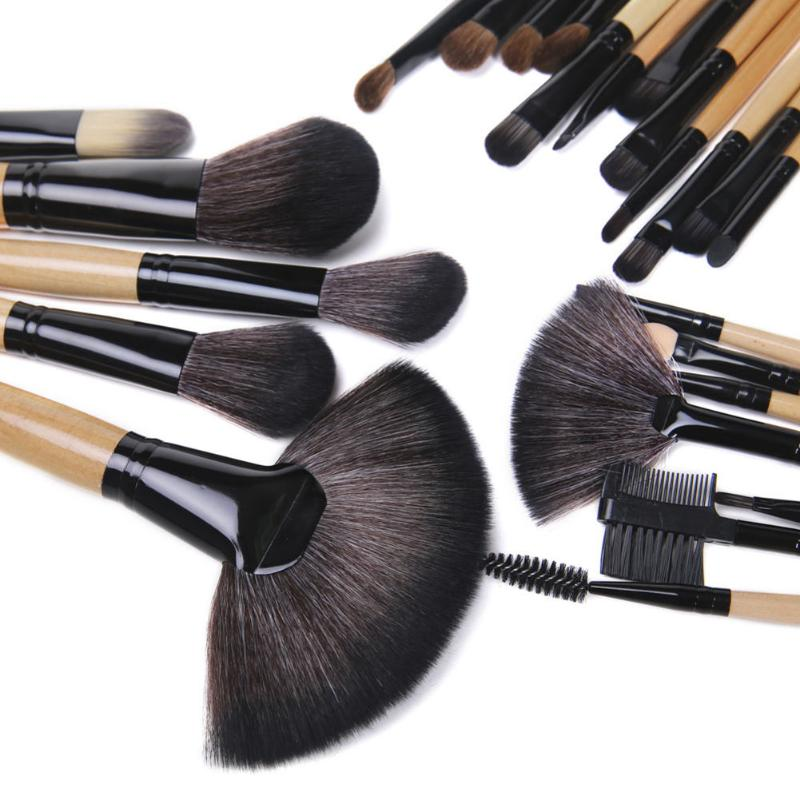 Купить с кэшбэком 24Pcs Makeup Brushes Cosmetic Tool Kits Professional Eyeshadow Powder Eyeliner Contour Brushes Set Case Bag Cosmetic Brushes