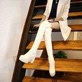 2015 mulheres novas botas de inverno botas de cano grosso perna fina elástica alta-salto alto botas Brancas à prova d' água plus size 42 43 botas quentes longos