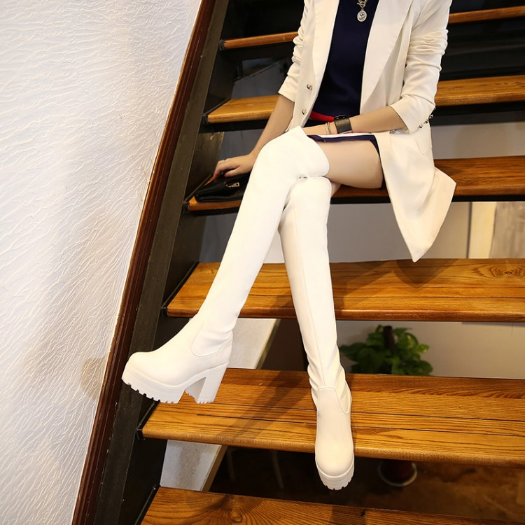 ФОТО 2015 women new winter boots knee boots thick leg elastic thin high-heeled boots White waterproof plus size 42 43 warm long boots