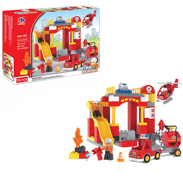 76PCS Big Blocks City Fire Station Architecture Building Blocks ...
