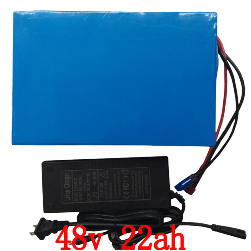 Rechargeable 1800W 48V Lithium ion battery 48V 22AH Electric Bike battery with PVC case 50A BMS 54.6V 2A charger Free shipping free shipping 48v 15ah battery pack lithium ion motor bike electric 48v scooters with 30a bms 2a charger